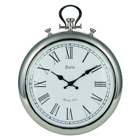 Silver Metal Round Wall Clock -Silver Metal Round Wall Clock - Clocks by Pacific available from Harley & Lola