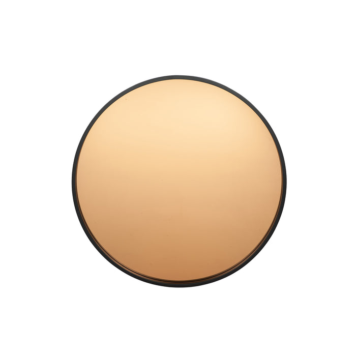 Pacific Lifestyle Matt Black Wood Round Mirror with Copper Glass