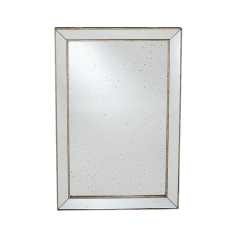 Pacific Lifestyle Antique Gold Metal and Foxed Glass Rectangle Mirror