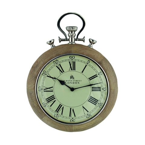 Natural Mango Wood & Steel Stopwatch Wall Clock