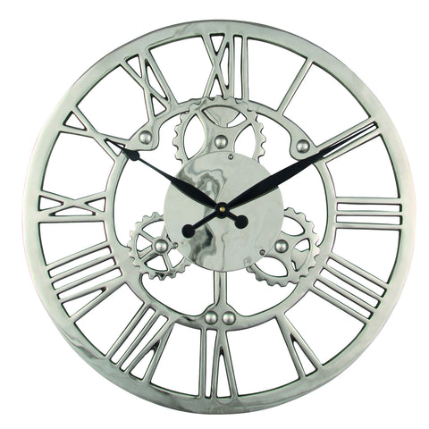 Nickel Plated Aluminium Cog Design Round Wall Clock -Nickel Plated Aluminium Cog Design Round Wall Clock - Clocks by Pacific available from Harley & Lola