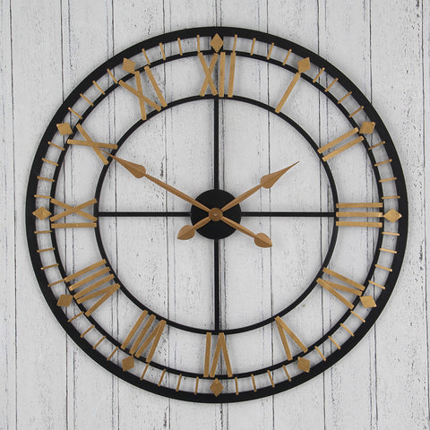 Antique Bronze & Gold Metal Round Wall Clock - - Clocks by Pacific available from Harley & Lola