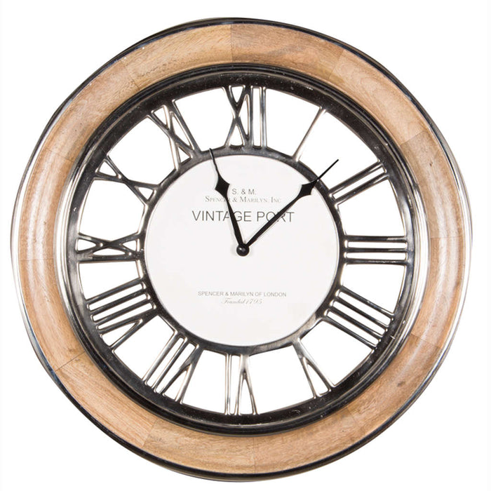 Pacific Lifestyle Polished Nickel & Mango Wood Round Wall Clock