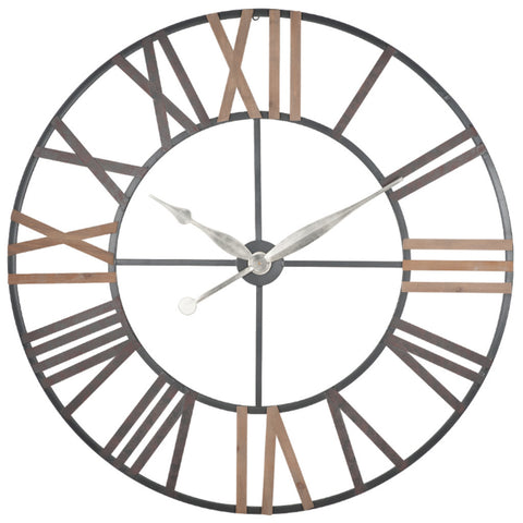 Pacific Lifestyle Antique Grey Metal & Wood Round Wall Clock