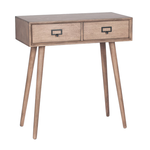 Pacific Lifestyle Klimt Desert Brown Pine Wood 2 Drawer Console Table