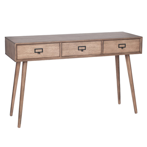 Pacific Lifestyle Klimt Desert Brown Pine Wood 3 Drawer Console