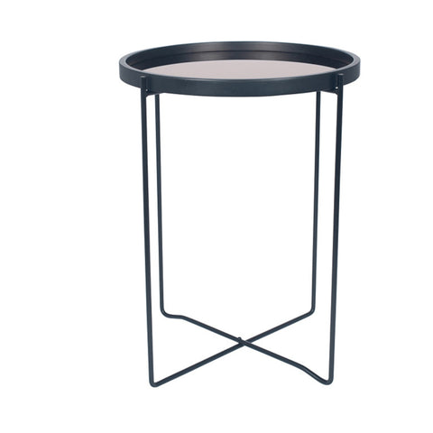 Pacific Lifestyle Matt Black Wood & Metal Side Table Copper Glass
