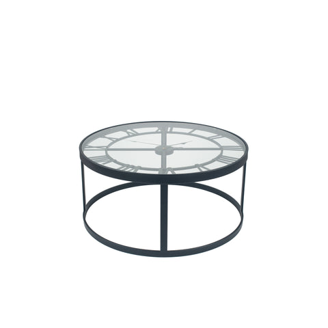 Pacific Lifestyle Antique Black Metal Round Clock Table