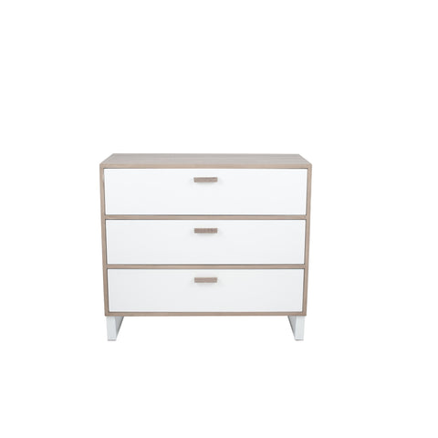 Pacific Lifestyle Natural & White Wood Veneer 3 Drawer Chest K/D