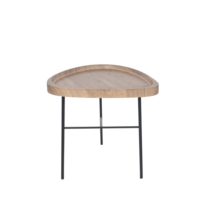 Pacific Lifestyle Dark Wood Effect and Black Metal Tear Side Table