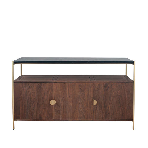 Pacific Lifestyle Acacia Wood and Black Marble Sideboard