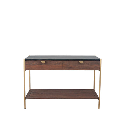 Pacific Lifestyle Acacia Wood and Black Marble 2 Drawer Console Table
