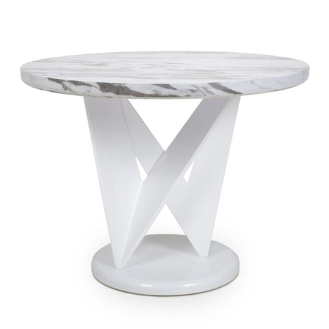 Saturn Round Marble Effect Top Dining Table