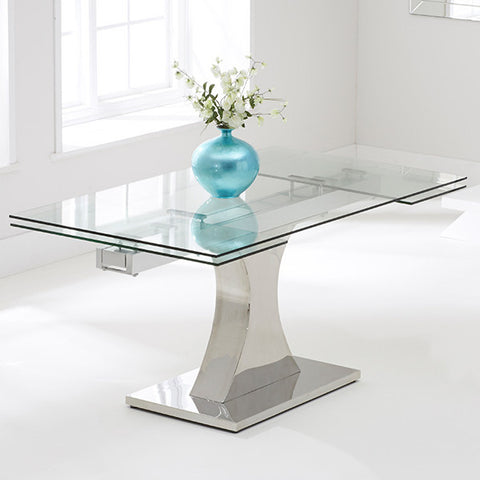 Mark Harris Amber Glass Extending Dining Table