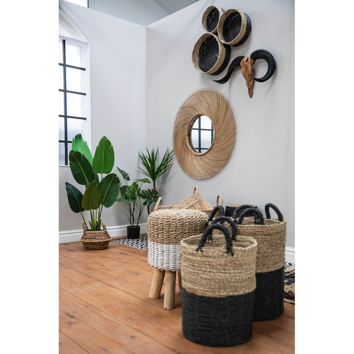 ManTeak Set of 3 Charcoal & Natural Baskets
