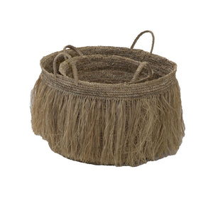 ManTeak Set of 2 Fringed Baskets Natural