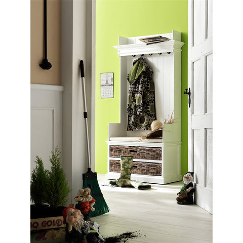Novasolo Halifax Entryway Coat Rack & Bench Unit