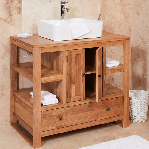 Baumhaus Mobel Solid Oak Two Door Single Sink Unit (Square)