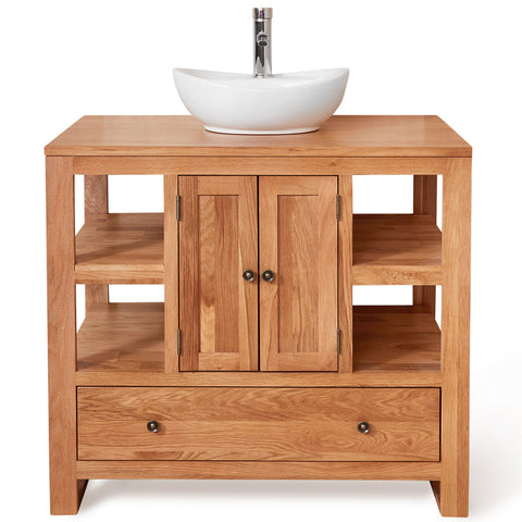 Baumhaus Mobel Solid Oak Two Door Single Sink Unit (Round)