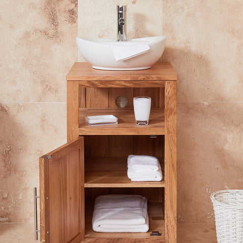 Baumhaus Mobel Solid Oak Single Door Sink Unit (Round)