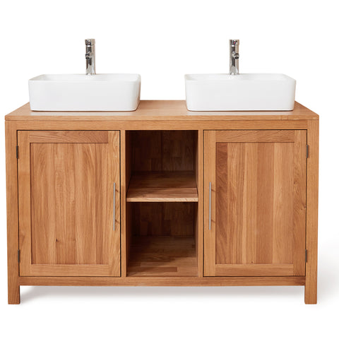Baumhaus Mobel Solid Oak Dual Sink Unit with Two Doors (Square)