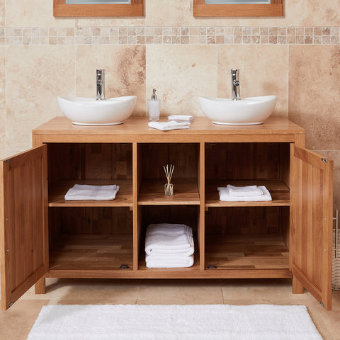 Baumhaus Mobel Solid Oak Dual Sink Unit with Two Doors (Round)