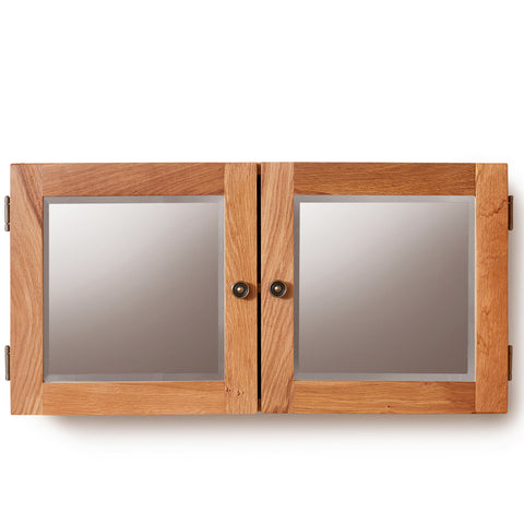 Baumhaus Mobel Solid Oak Mirrored Double Door Cabinet