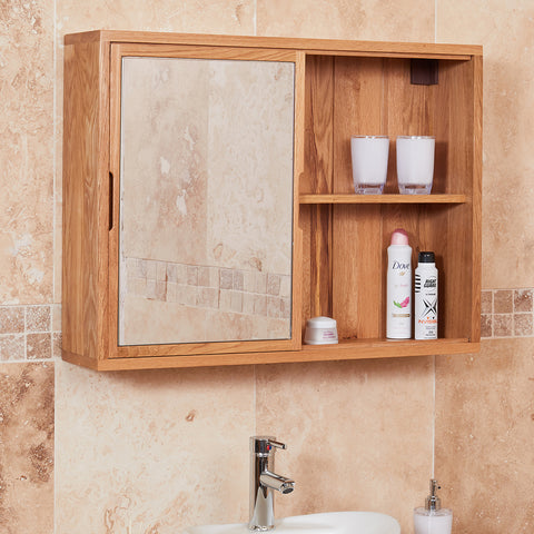 Baumhaus Mobel Solid Oak Mirrored wall shelf unit
