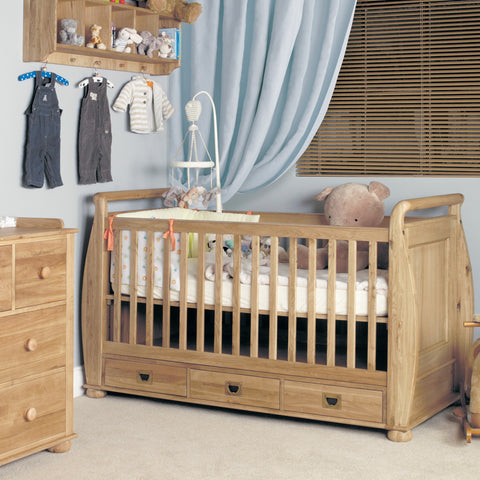 Amelie Oak Cot-Bed with Three Drawers - - Kids Rooms by Baumhaus available from Harley & Lola - 1