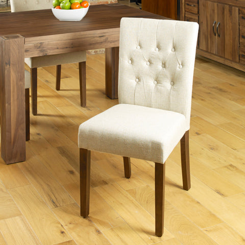 Baumhaus Mayan Flare Back Upholstered Dining Chair - Biscuit