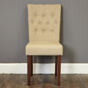Baumhaus Shiro Flare Back Upholstered Dining Chair (Pair) - Biscuit