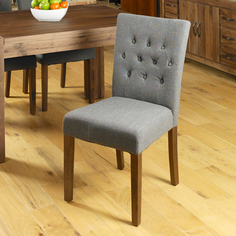 Baumhaus Mayan Flare back Upholstered Dining Chair - Slate
