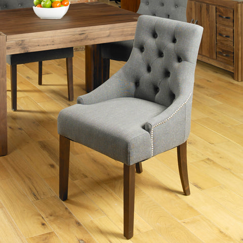 Baumhaus Mayan Walnut Accent Upholstered Dining Chair - Stone