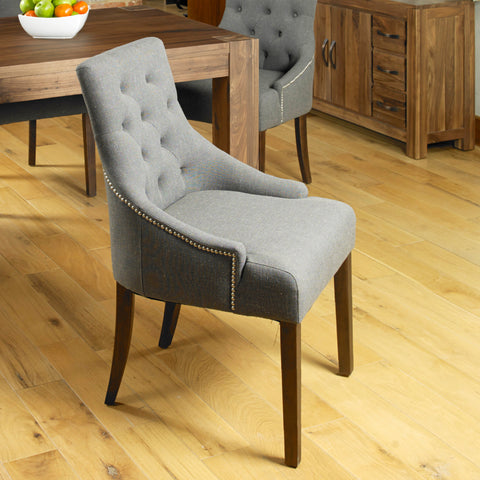 Baumhaus Shiro Walnut Accent Upholstered Dining Chair - Stone
