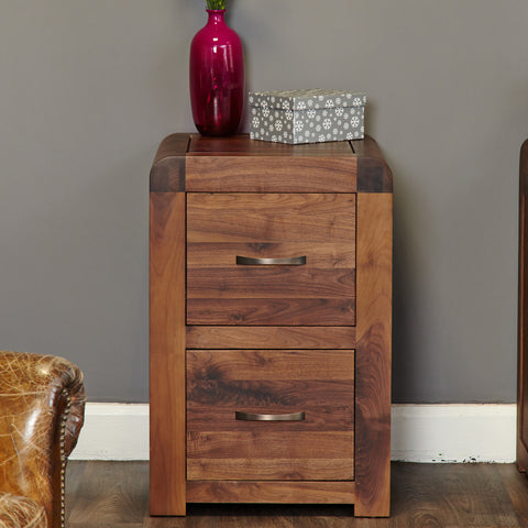 Baumhaus Shiro Walnut Two Drawer Filing Cabinet