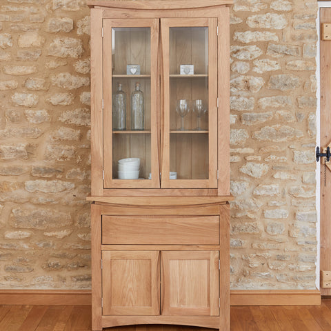 Baumhaus Roscoe Contemporary Oak Glazed Display Cabinet