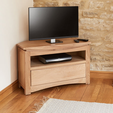 Baumhaus Roscoe Contemporary Oak Corner Television Cabinet