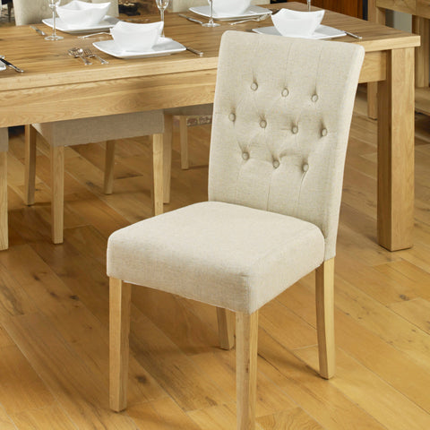 Baumhaus Aston Flare Back Upholstered Dining Chair - Biscuit