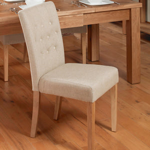 Baumhaus Mobel Flare Back Upholstered Dining Chair (Pair) - Biscuit