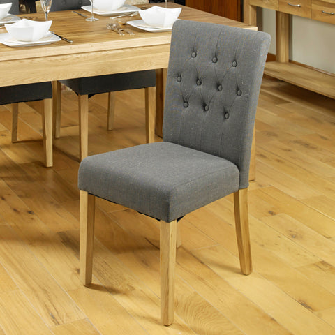 Baumhaus Mobel Flare Back Upholstered Dining Chair - Slate