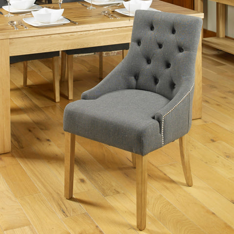 Baumhaus Aston Oak Accent Upholstered Dining Chair - Stone