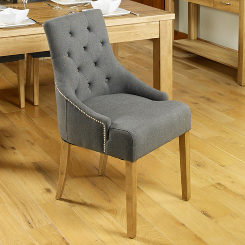 Baumhaus Mobel Oak Accent Upholstered Dining Chair