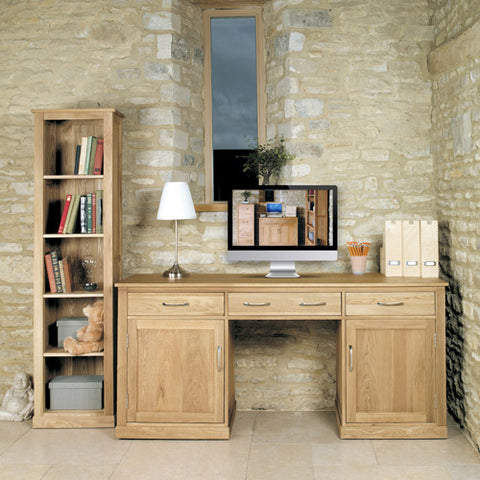 Mobel Oak Large Hidden Office Twin Pedestal Desk - - Living Room by Baumhaus available from Harley & Lola - 1