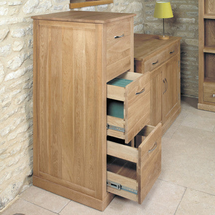 Baumhaus Mobel Oak 3 Drawer Filing Cabinet