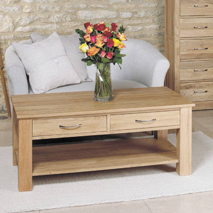 Mobel Oak Four Drawer Coffee Table - - Living Room by Baumhaus available from Harley & Lola - 1