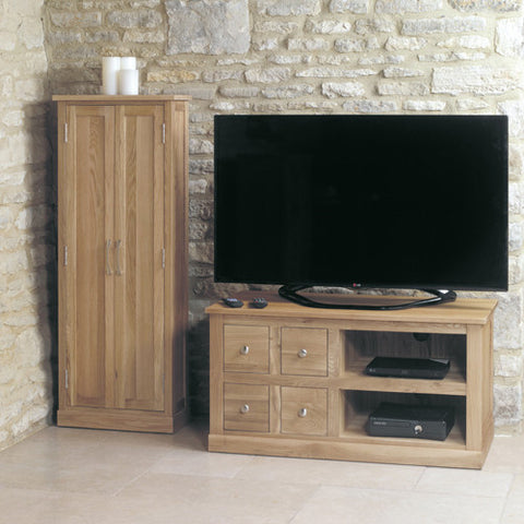 Mobel Oak Four Drawer Television Cabinet - - Living Room by Baumhaus available from Harley & Lola - 1