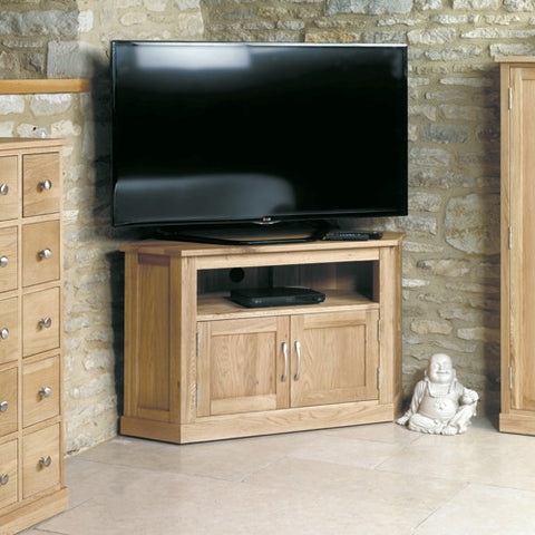 Mobel Oak Corner Television Cabinet - - Living Room by Baumhaus available from Harley & Lola - 1