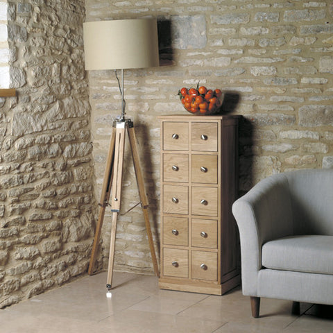 Mobel Oak Multi-Drawer DVD / CD Storage Chest - - Living Room by Baumhaus available from Harley & Lola - 1