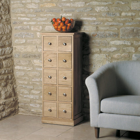baumhaus mobel oak multi drawer dvd cd storage chest
