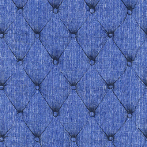 Denim Chesterfield - Indigo Wallpaper